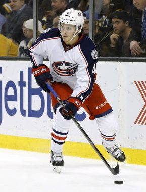 22 February 2016: Columbus Blue Jackets center Alexander Wennberg (41) [10389] holds the puck. The Columbus Blue Jackets defeated the Boston Bruins 6-4 in a regular season NHL game at TD Garden in Boston, Massachusetts. (Photograph by Fred Kfoury III/Icon Sportswire)