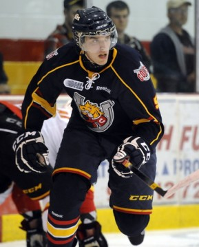 Aaron Ekblad of the Barrie Colts. Photo by Aaron Bell/OHL Images