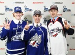 David Levin (middle), Gabe Vilardi (right) and Owen Tippett (left) were three of the top four picks in the 2015 OHL Priority Selection presented by State Farm on Saturday April 11, 2015. (Photo by Aaron Bell/OHL Images)