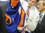 June 24, 2016: Keiffer Bellows dons his Islanders sweater after he was selected as the 19th pick in the first round of the 2016 NHL Entry Draft at First Niagara Center in Buffalo, NY (Photo by John Crouch/Icon Sportswire.)