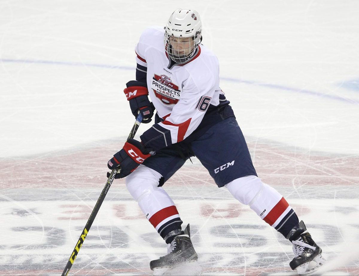 BUFFALO, NY - Sep 24, 2015 : 2015 CCM/USA Hockey, All American Prospects Game. Riley Tufte #16 of Team Roenick (Photo by Tim Bates / HHOF)
