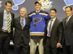 June 24, 2016: Tage Thompson poses with St. Louis Blues management and coaches after he was selected as the 26th pick in the first round of the 2016 NHL Entry Draft at First Niagara Center in Buffalo, NY (Photo by John Crouch/Icon Sportswire.)