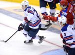 TORONTO, ON - DECEMBER 29, 2016 :  USA forward Troy Terry (20) skates the puck out of his zone during play against Russia at the World Junior Hockey Championships (Photo by Dan Hamilton/Icon Sportswire)