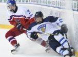POPRAD, SLOVAKIA - APRIL 20: Czech Republic's Filip Chytil #20 bodychecks Finland's Aleksi Anttalainen #4 during quarterfinal round action at the 2017 IIHF Ice Hockey U18 World Championship. (Photo by Andrea Cardin/HHOF-IIHF Images)