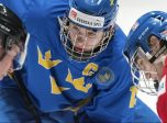 SPISSKA NOVA VES, SLOVAKIA - APRIL 15: Sweden's Rickard Hugg #15 faces-off against the Czech Republic's Krystof Hrabik #26 during preliminary round action at the 2017 IIHF Ice Hockey U18 World Championship. (Photo by Steve Kingsman/HHOF-IIHF Images)