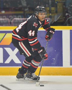 Akil Thomas of the Niagara IceDogs. Photo by Terry Wilson / OHL Images.