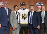 CHICAGO, IL - JUNE 23: The Las Vegas Golden Knights select center Cody Glass with the 6th pick in the first round of the 2017 NHL Draft on June 23, 2017, at the United Center, in Chicago, IL. (Photo by Patrick Gorski/Icon Sportswire)