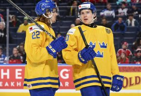 BUFFALO, NEW YORK - JANUARY 4: Sweden's Axel Fjallby Jonsson #22 and Isac Lundestrom #20 have words during semifinal round action against the U.S. at the 2018 IIHF World Junior Championship. (Photo by Matt Zambonin/HHOF-IIHF Images)