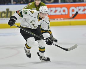 Liam Foudy of the London Knights. Photo by Terry Wilson / OHL Images.