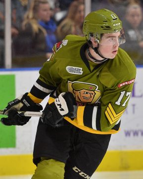 Justin Brazeau of the North Bay Battalion. Photo by Terry Wilson /OHL Images,