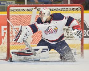 Evan Cormier of the Saginaw Spirit. Photo by Terry Wilson / OHL Images.