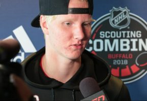 BUFFALO, NY - JUNE 2: Rasmus Dahlin talks at the podium during the NHL Scouting Combine on June 2, 2018 at HarborCenter in Buffalo, New York. (Photo by Jerome Davis/Icon Sportswire)