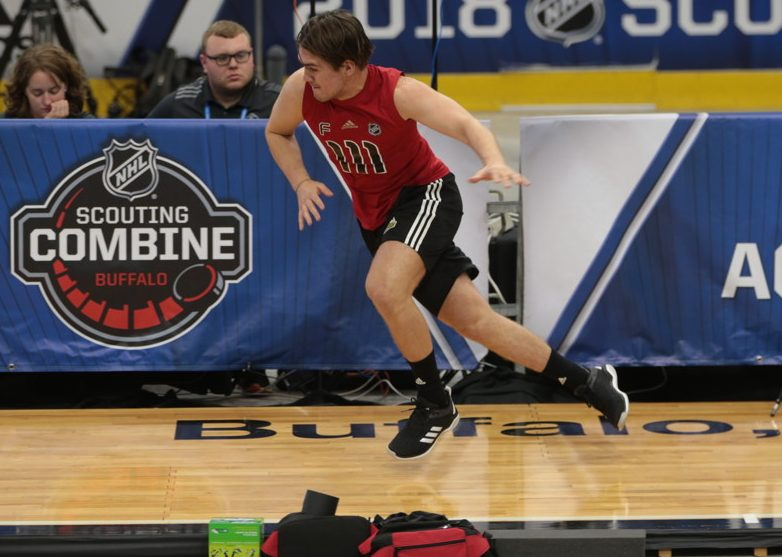 BUFFALO, NY - JUNE 2: Filip Zadina (111) completes the pro agility test during the NHL Scouting Combine on June 2, 2018 at HarborCenter in Buffalo, New York. (Jerome Davis/Icon Sportswire)
