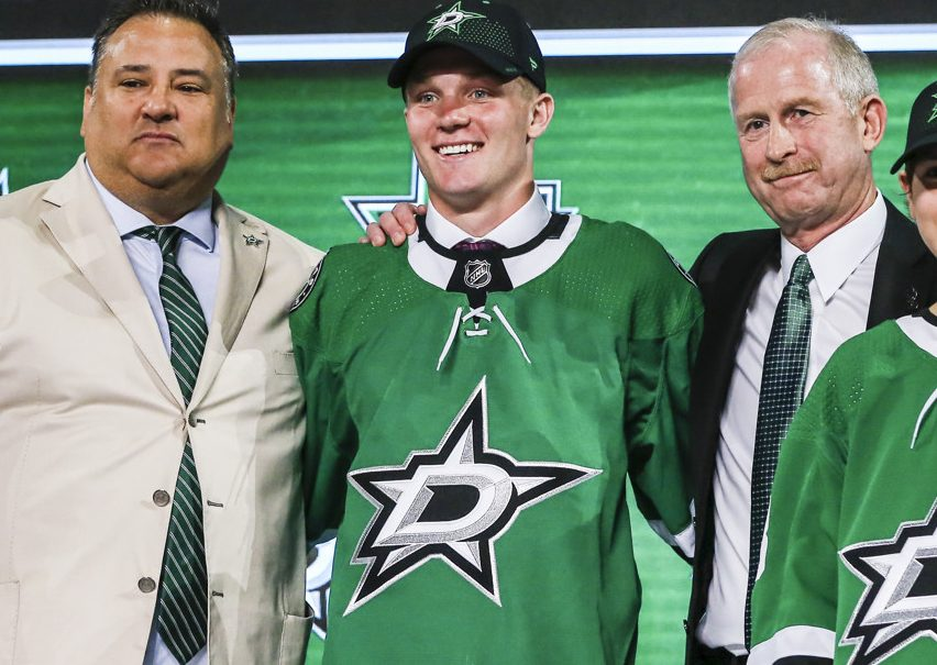 DALLAS, TX - JUNE 22: The Dallas Stars draft Ty Dellandrea in the first round of the 2018 NHL draft on June 22, 2018 at the American Airlines Center in Dallas, Texas. (Photo by Matthew Pearce/Icon Sportswire)