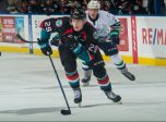 KELOWNA, CANADA - OCTOBER 10:  Nolan Foote #29 of the Kelowna Rockets skates for the net against the Seattle Thunderbirds on October 10, 2018 at Prospera Place in Kelowna, British Columbia, Canada.  (Photo by Marissa Baecker/Shoot the Breeze)  *** Local Caption ***