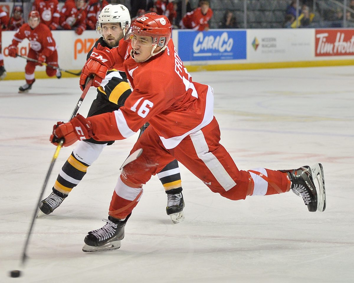 Morgan Frost of the Sault Ste. Marie Grehounds. Photo by Terry Wilson / OHL Images.