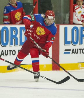 Russia forward Vasily Podkolzin (11)  in action during the U20 ice hockey game between Russia and Switzerland on December 23, 2018 in Burnaby. Photo: Bob Frid / BILDBYRÅN
