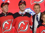 VANCOUVER, BC - JUNE 21:  Jack Hughes poses for a photo onstage after being selected first overall by the New Jersey Devils during the first round of the 2019 NHL Draft at Rogers Arena on June 21, 2019 in Vancouver, British Columbia, Canada. (Photo by Derek Cain/Icon Sportswire)