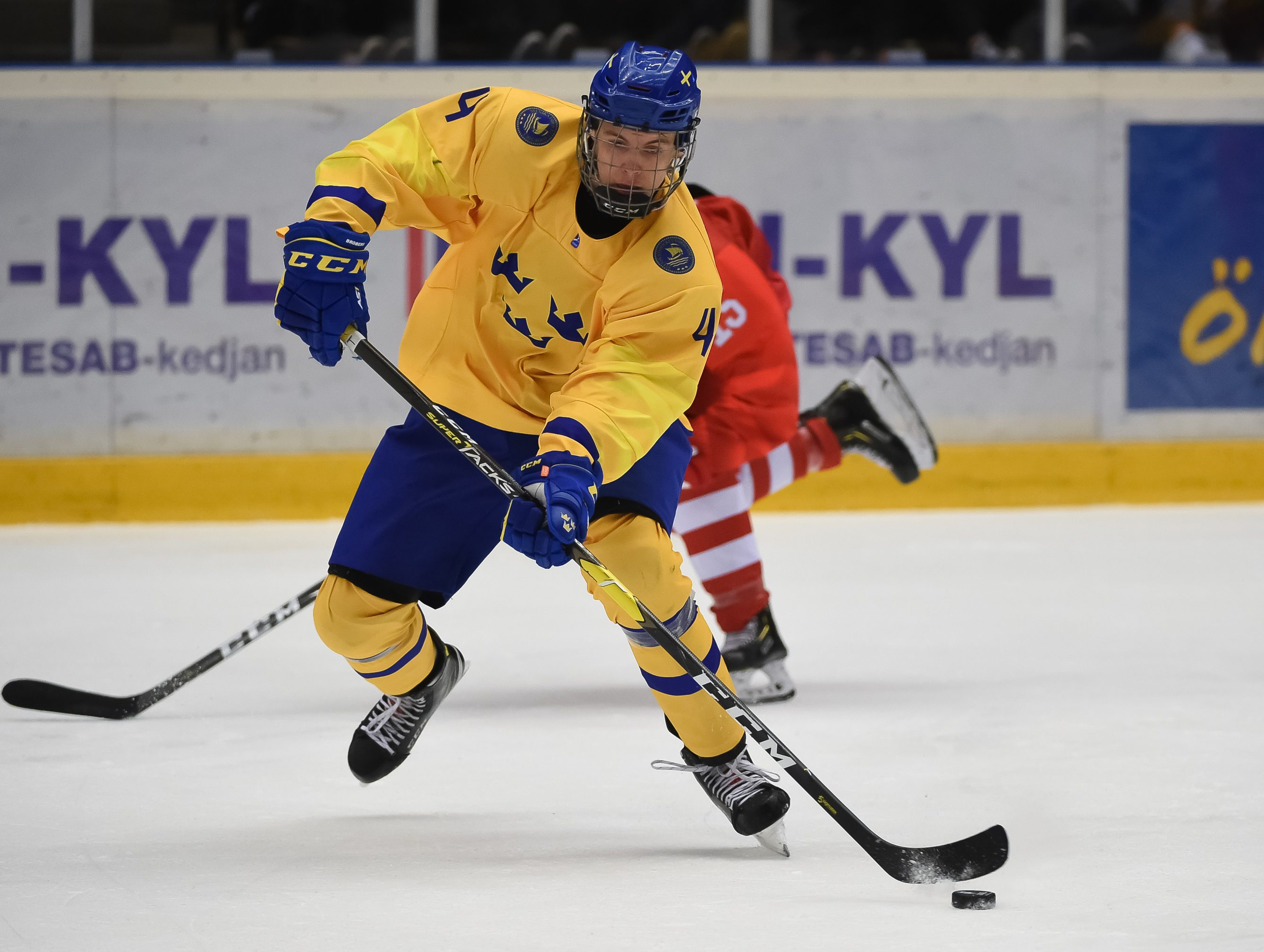 ORNSKOLDSVIK, SWEDEN - APRIL 23: Swedens Philip Broberg #4 makes a pass during preliminary round action against Russia at the 2019 IIHF Ice Hockey U18 World Championship at Fjallraven Center on April 23, 2019 in Ornskoldsvik, Sweden. (Photo by Steve Kingsman/HHOF-IIHF Images)