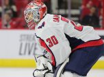 RALEIGH, NC - SEPTEMBER 21: Washington Capitals goaltender Ilya Samsonov (30) during the 3rd period of the preseason Carolina Hurricanes game versus the Washington Capitals on September 21, 2018 at PNC Arena in Raleigh, NC. (Photo by Jaylynn Nash/Icon Sportswire)