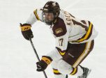 BUFFALO, NY - APRIL 13: Minnesota Duluth Bulldogs Forward Cole Koepke (17) skates with the puck during the second period of the NCAA Hockey Frozen Four championship game between the Massachusetts Minutemen and the Minnesota Duluth Bulldogs on April 13, 2019, at KeyBank Center in Buffalo, NY. (Photo by Gregory Fisher/Icon Sportswire)