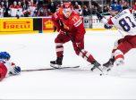 Filip Hronek and Dominik Kubalik of Czech Republic against Kirill Kaprizov of Russia during the 2019 IIHF Ice Hockey World Championship bronze medal game between Russia and Czech Republic on May 26, 2019 in Bratislava. Photo: Joel Marklund / BILDBYRÅN /