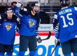 Matias Macceli, Aatu Räty and Lenni Killinen of Finland celebrate the 4-0 goal during the 2020 IIHF World Junior Championship game between Finland and Slovakia on December 28, 2019 in Trinec. Photo: Simon Hastegård / BILDBYRÅN /